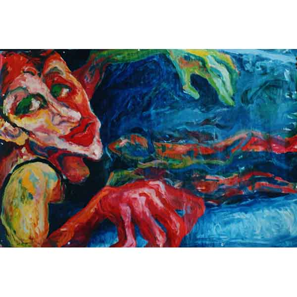 Tub,  oil on cardboard, 1991, 150/95 cm,