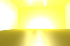 GOLDEN ROOM, ambience, computer animation and digital prints, lightning effects, 2009